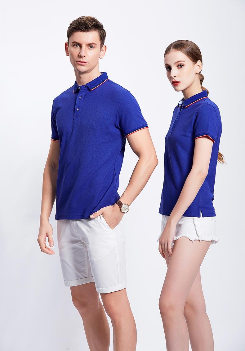 蓝色POLO衫款式图