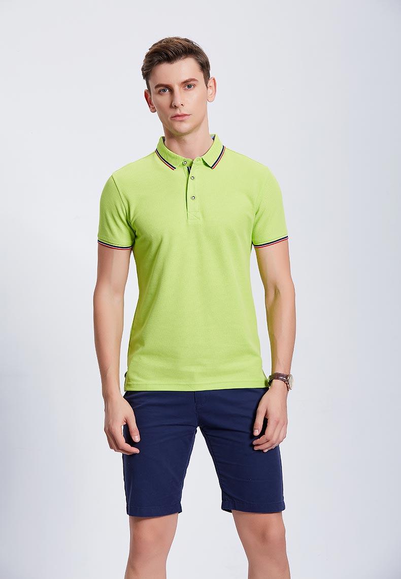 果绿色POLO衫款式图