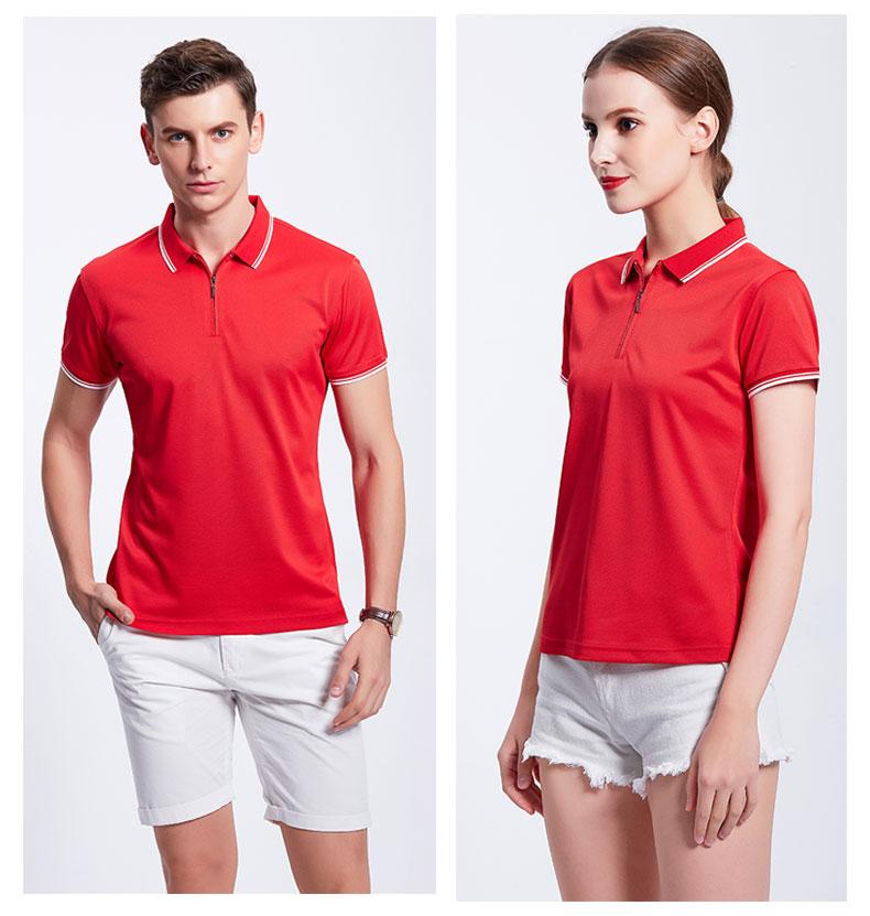红色POLO衫工作服模特展示图