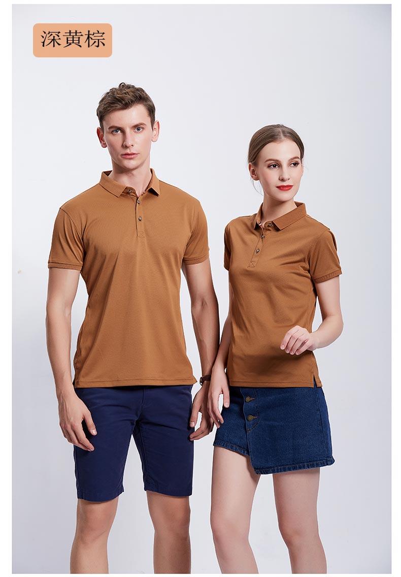 深黄棕休闲款POLO衫T恤展示图