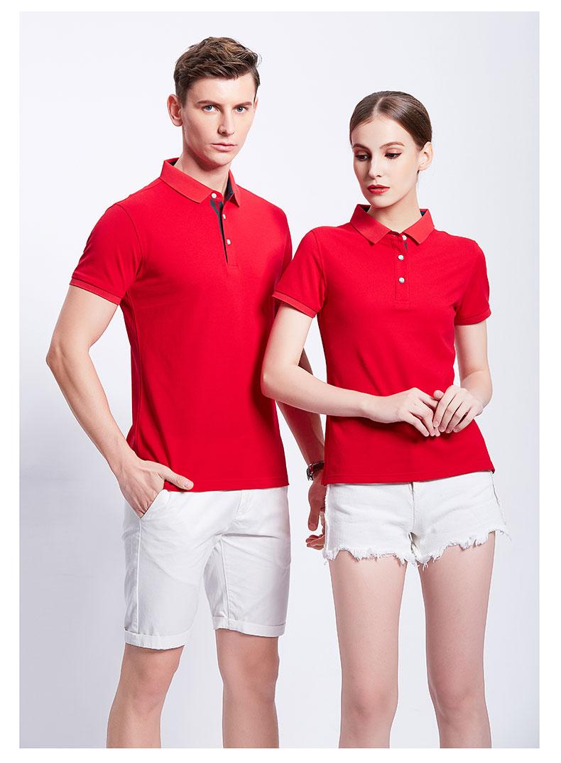 大红色POLO衫工作服展示
