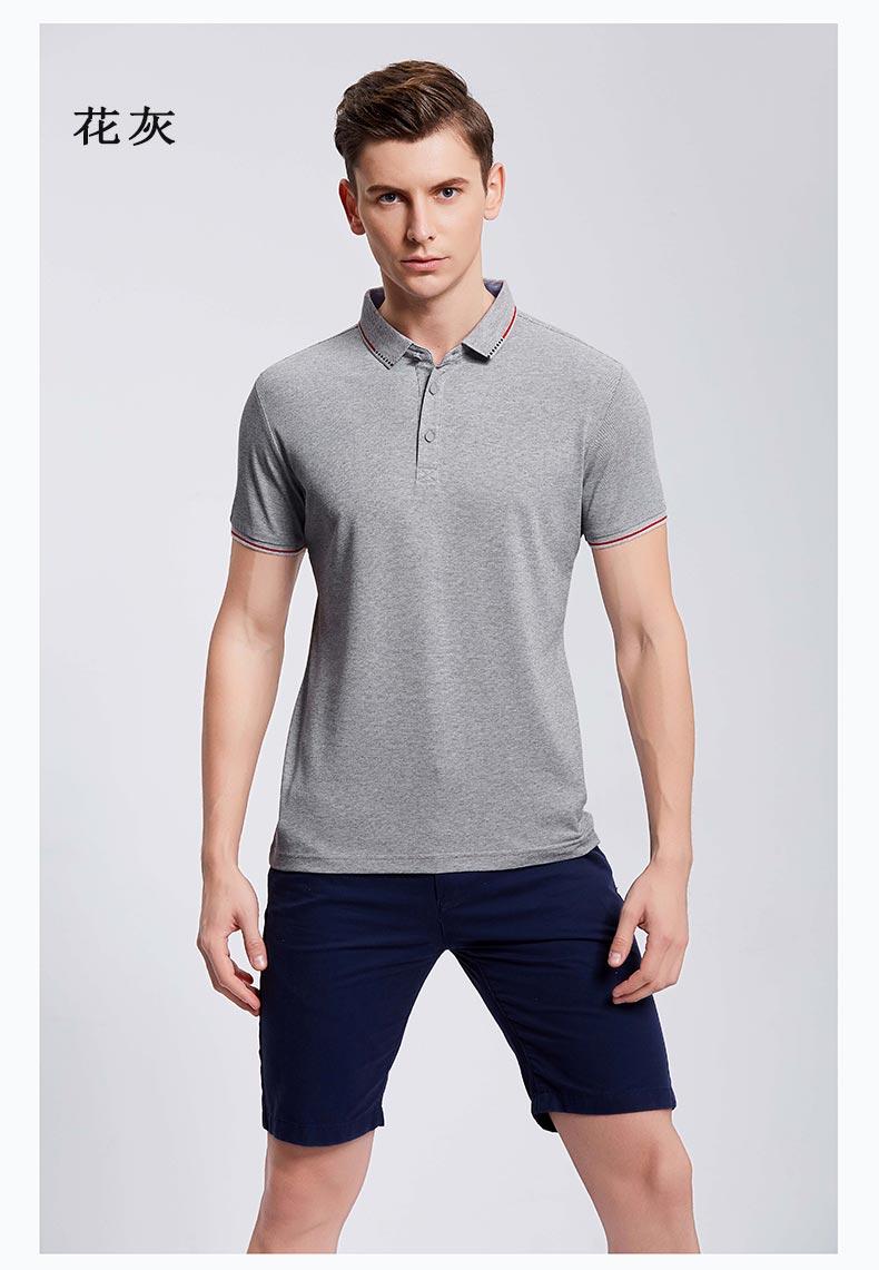 夏季花灰色纯棉POLO衫定制款式图