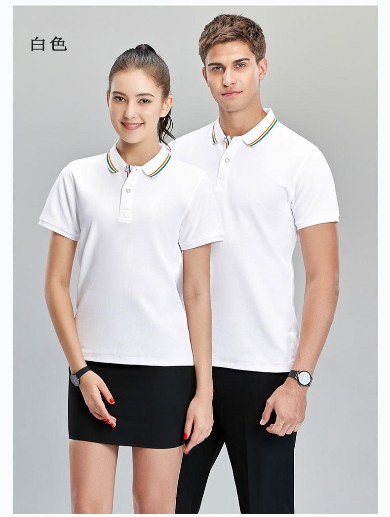 白色商务POLO衫模特展示图