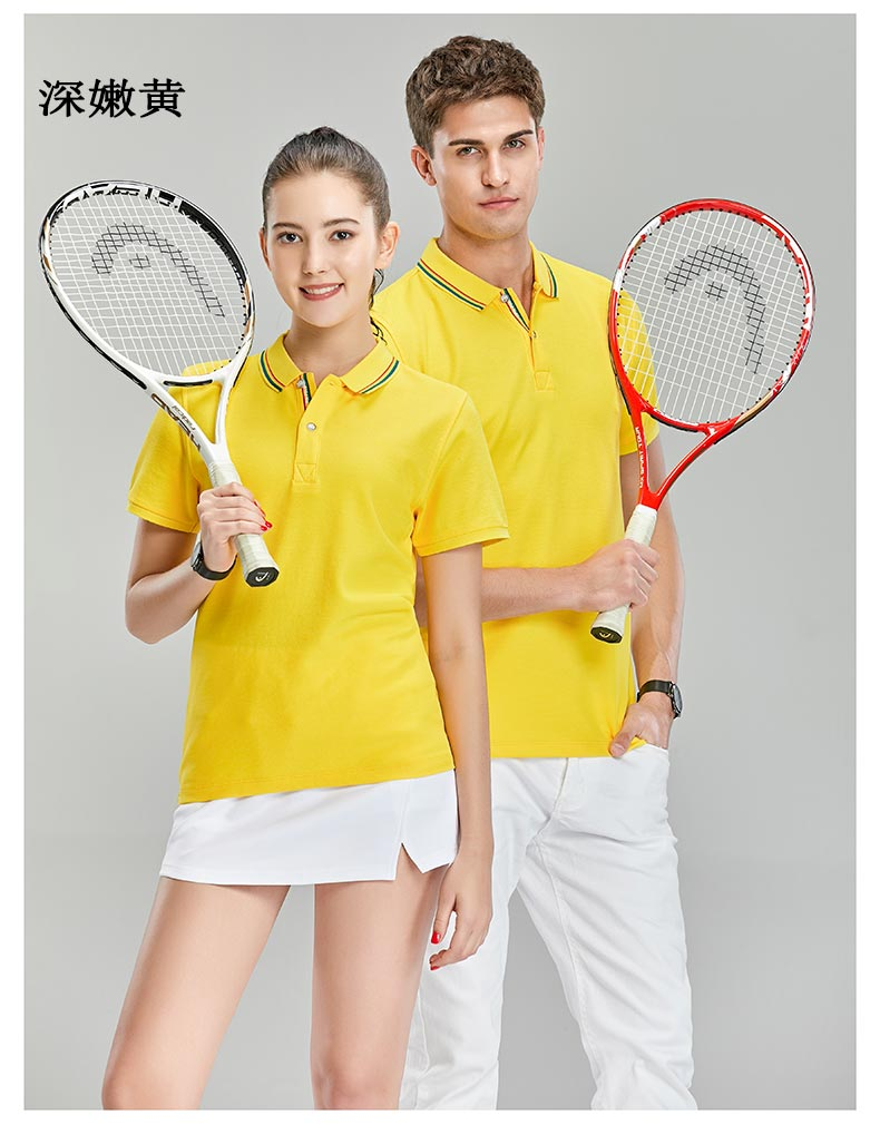 深嫩黄色商务POLO衫模特展示图