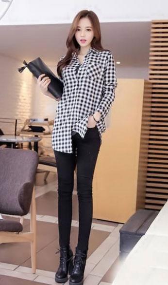 女生格子衬衫款式搭配图