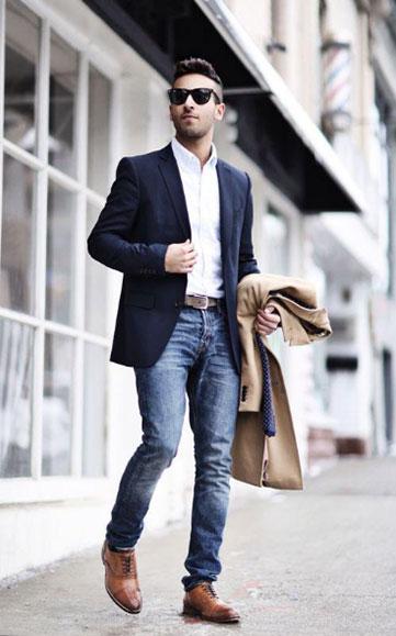 男士西装搭配牛仔裤