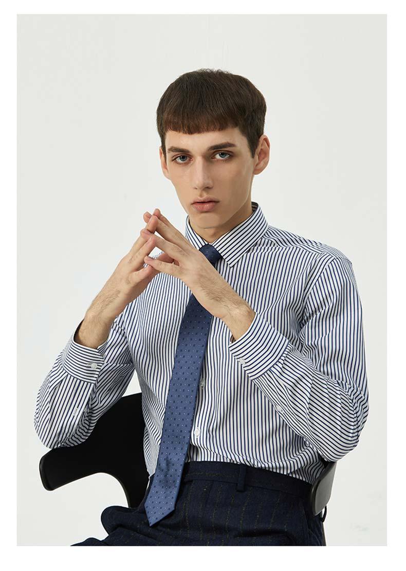 男士条纹衬衫定做款式图片