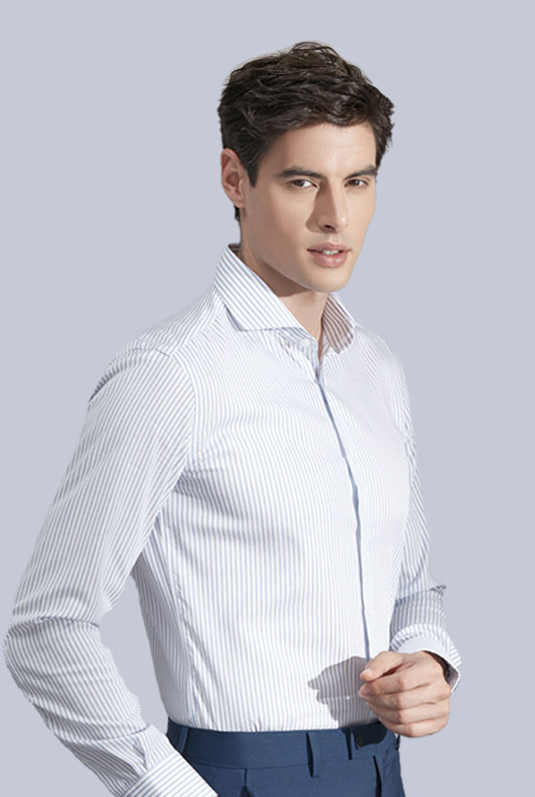 男士白色条纹衬衫定做