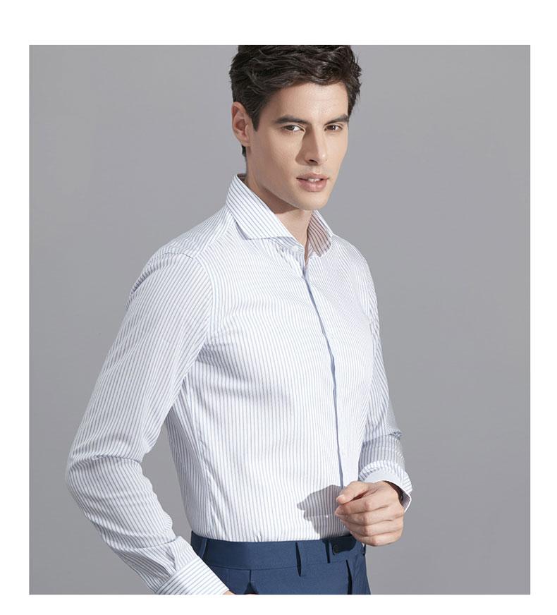 男士白色条纹衬衫定做款式图片