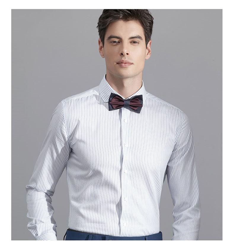 男士白色条纹衬衫定做图片展示