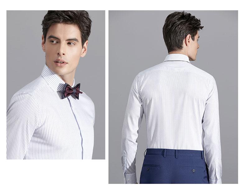 男士白色条纹衬衫定做细节图