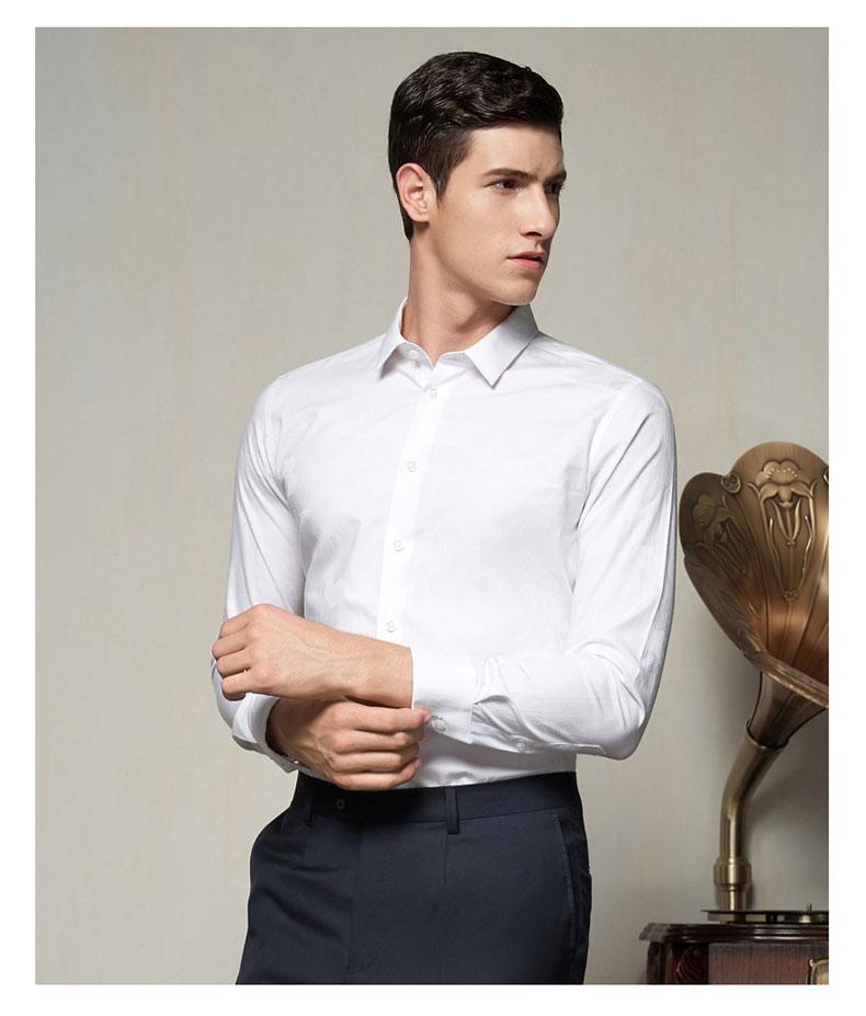 男款白色正装衬衫定做款式图片