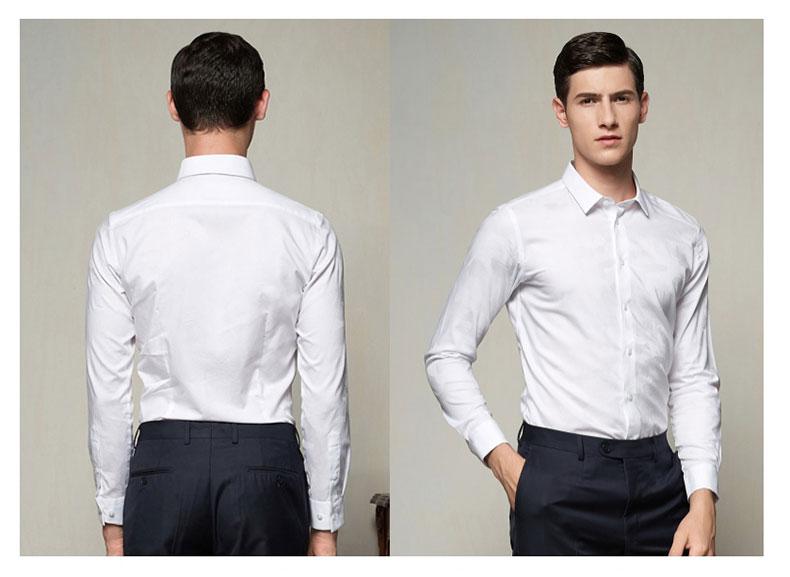 男款白色正装衬衫正反面图片