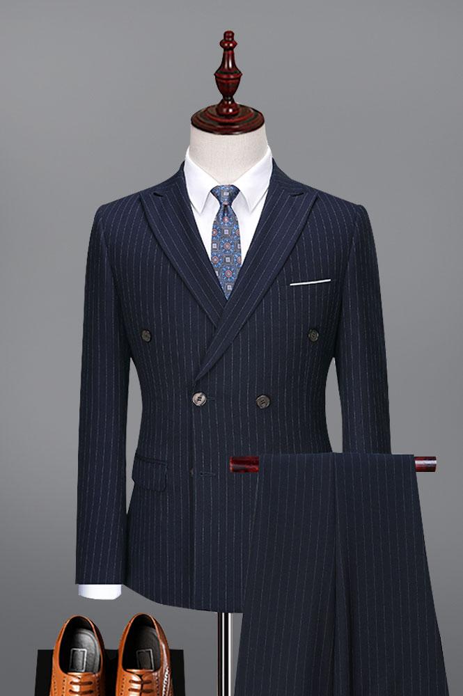 条纹双排扣西装
