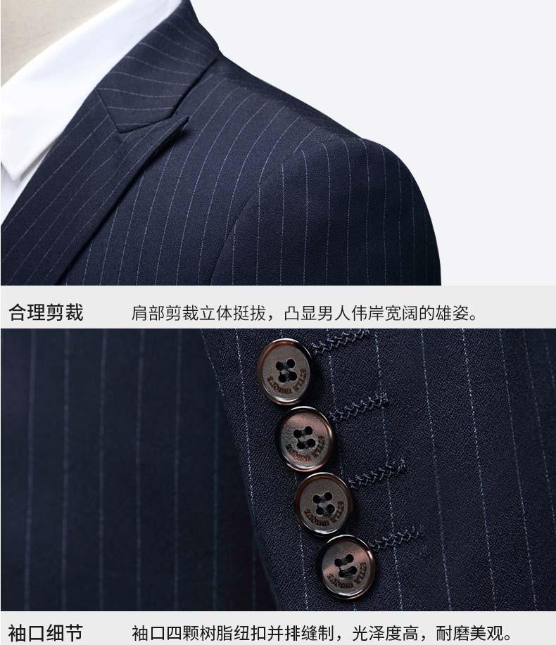 男士双排扣西装细节展示图