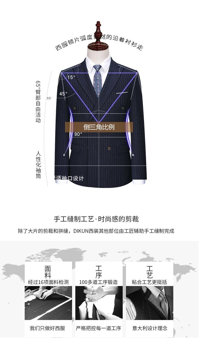 男士条纹双排扣西装款式分解图