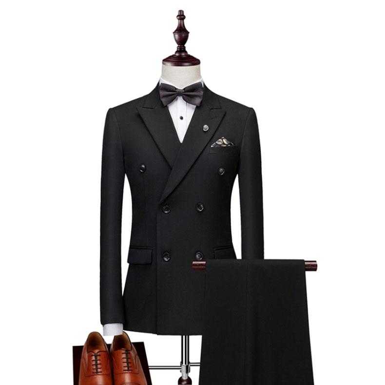 男士黑色双排扣西装款式图