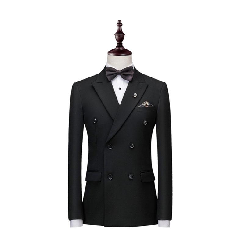 男士黑色双排扣西装款式图片