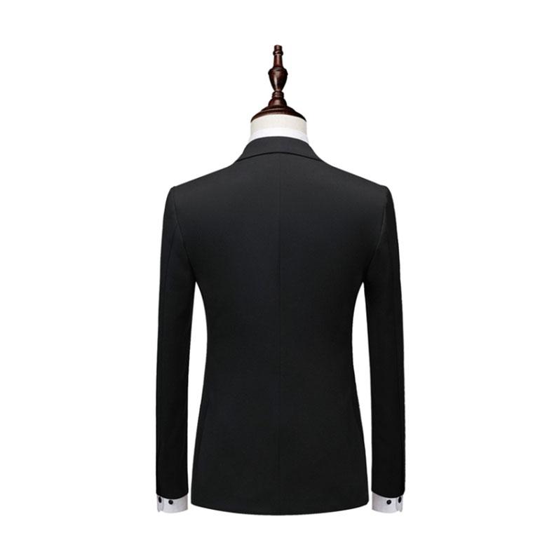 男士黑色双排扣西装背面图展示