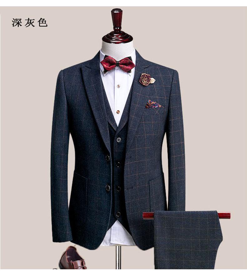 男士深灰色西装礼服套装图片